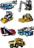 Zeven multi gekleurde gebouw auto 's. — Stockvector