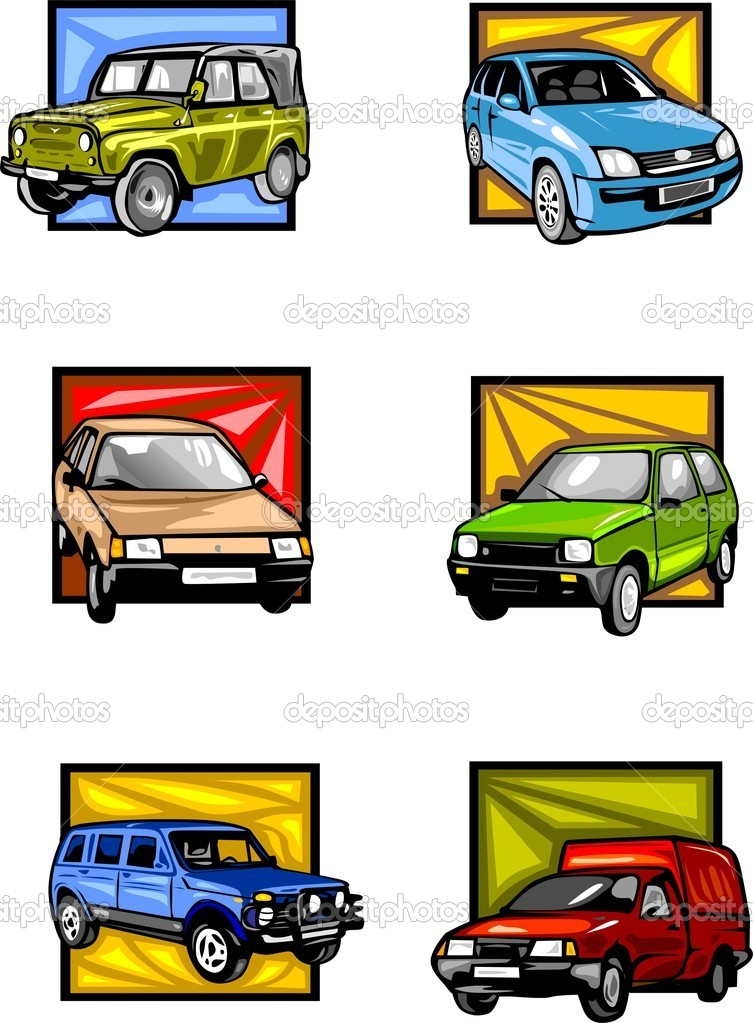 ... -coloured squares. Cars. — Stock Vector © Digital-Clipart #4880734