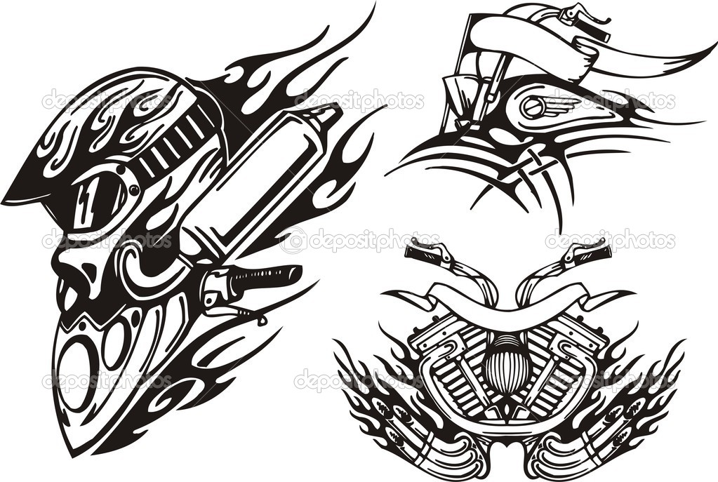 Tribal bikes. Vector illustration ready for vinyl cutting. — Stock Vector #4894443