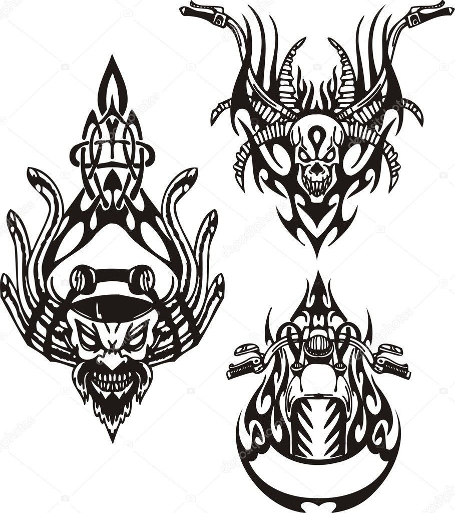 Tribal bikes. Vector illustration ready for vinyl cutting. — Stock Vector #4894449
