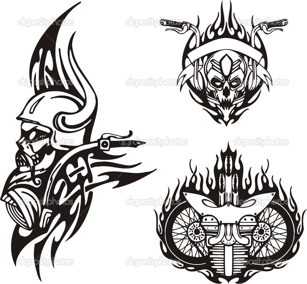 Tribal bikes. Vector illustration ready for vinyl cutting. — Stock Vector #4894452