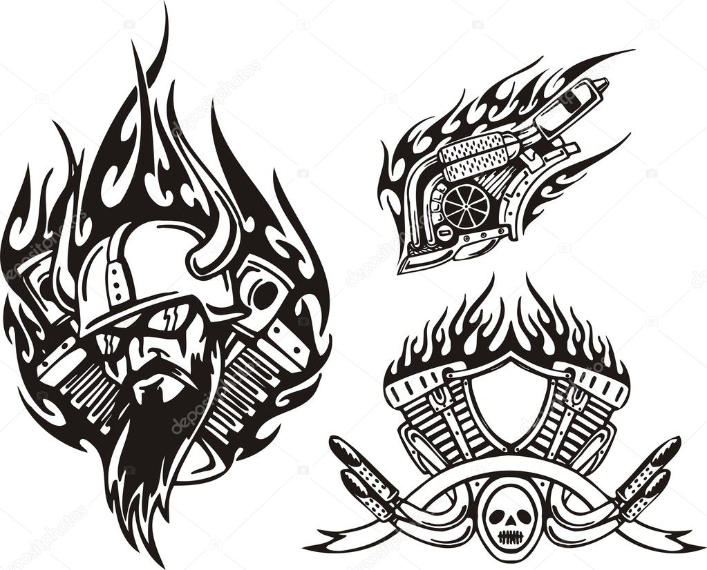 Tribal bikes. Vector illustration ready for vinyl cutting. — Stock Vector #4894459