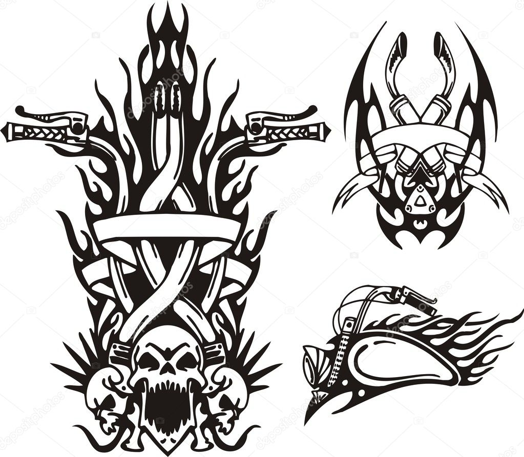  Tribal bikes. Vector illustration ready for vinyl cutting.  Stock Vector #4894461
