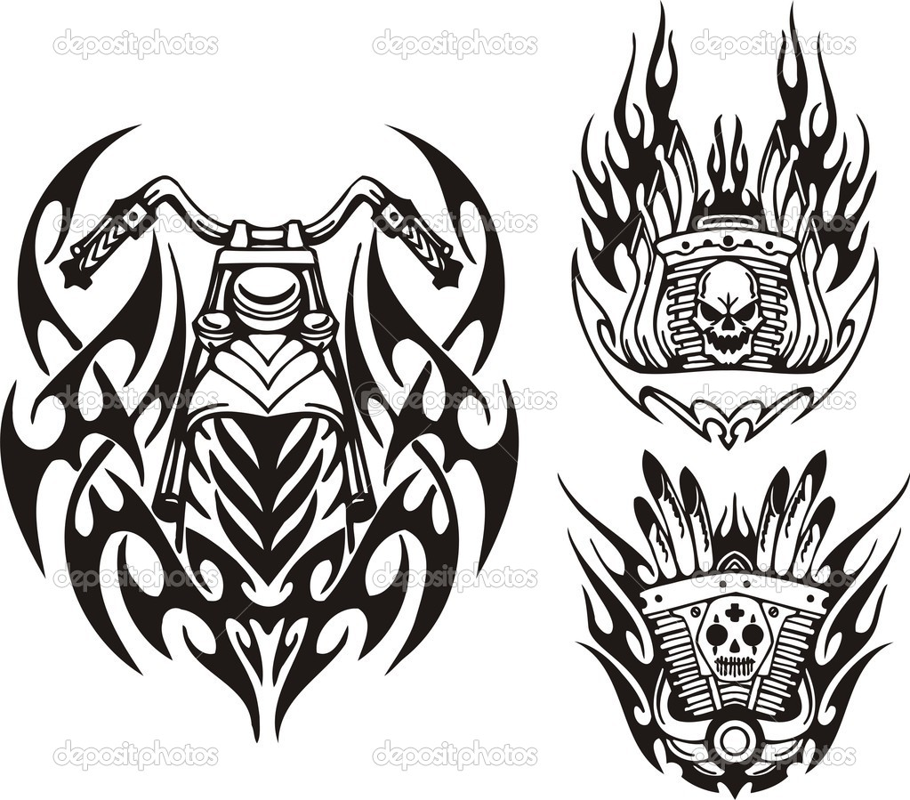 Tribal bikes. Vector illustration ready for vinyl cutting.  Stock Vector #4894505