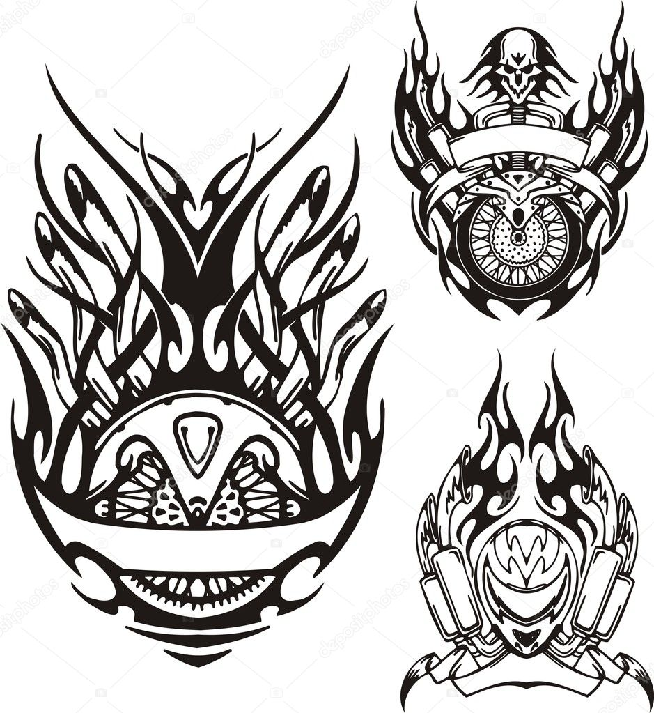 Tribal bikes. Vector illustration ready for vinyl cutting. — Stock Vector #4894517