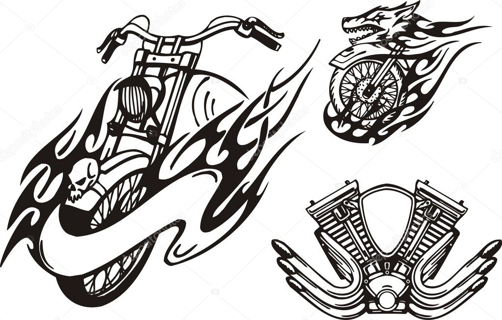  Tribal bikes. Vector illustration ready for vinyl cutting.  Stock Vector #4894526
