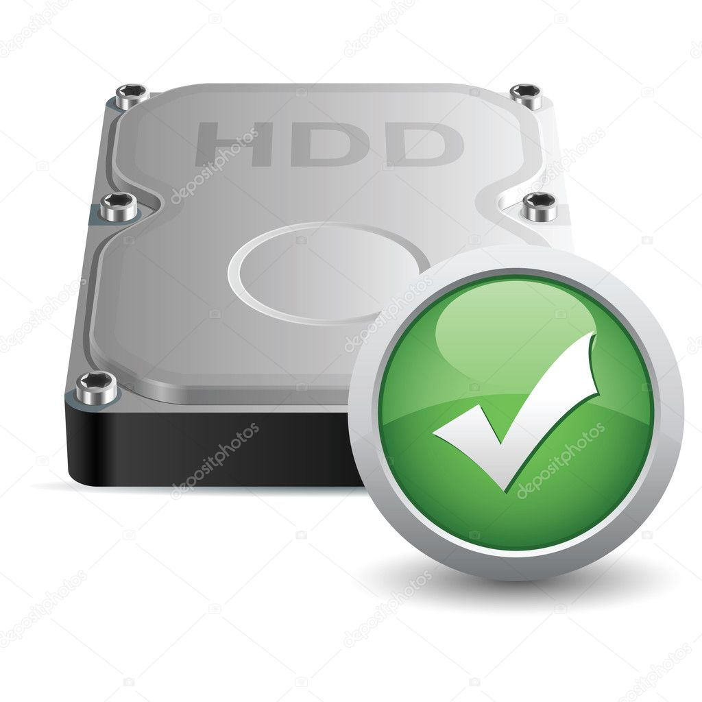 Vector hard disk drive icon with OK sign — Stock Vector #5365350