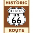 Historic Illinois Route 66 Sign - Stock Photo