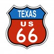 Texas Route US 66 Sign - Stock Photo