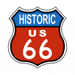 Historic Route US 66 Sign - Stock Photo
