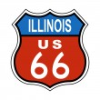 Illinois Route US 66 Sign - Stock Photo