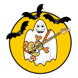 Halloween Ghost Playing Guitar - Stock Photo