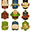 Vector de stock : Set of gold-framed labels