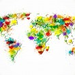 Paint splashes world map vector background - Stock Vector