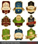 Conjunto de marcos dorados-etiquetas — Vector de stock