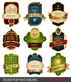 Set of gold-framed labels — 图库矢量图片