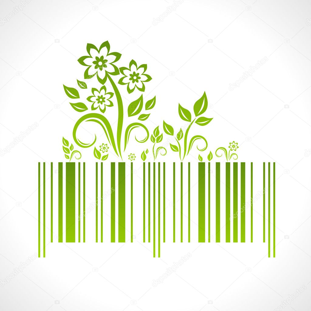 Eco concept. Vector illustration of barcode with decoration. — Stock Vector #4642786