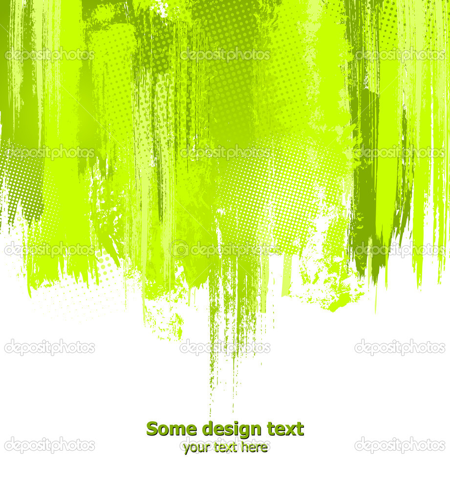 Green abstract paint splashes illustration. Vector background with place for your text.  Stock Vector #4642790