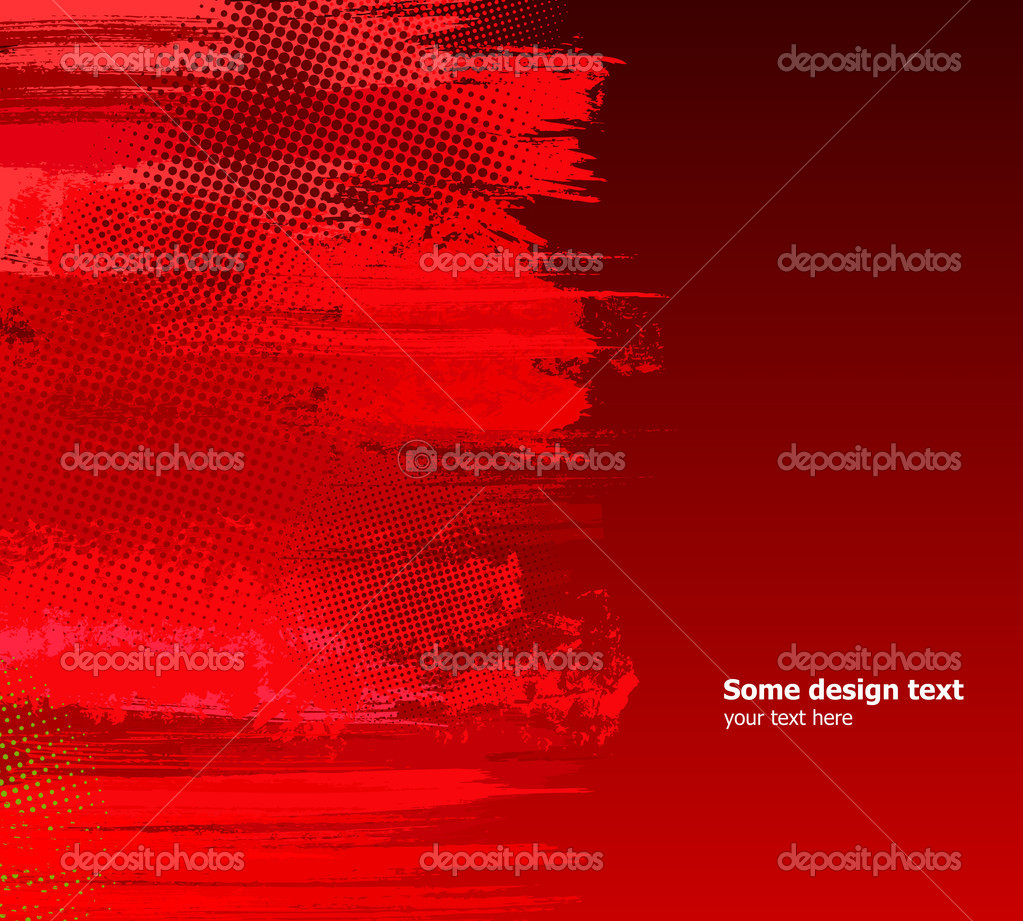 Red abstract paint splashes illustration. Vector grunge background. — Stock Vector #4642805
