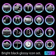 Stock Vector: Black glossy icon set 2