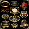Retro vector gold frames on black background - Vettoriali Stock