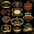 Royalty-Free Stock Vectorielle: Retro vector gold frames on black background