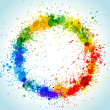 Color paint splashes round background — Vector de stock