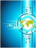 Mapa de ilustração para o site de negócios. vertical verde e azul de volta — Vetor de Stock