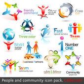 Obchodní společenství 3d ikony. vektorové prvky návrhu — Stock vektor