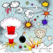 Vektorové komiksových exploze prvky pro návrh — Stock vektor
