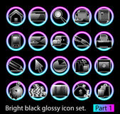 Black glossy icon set 1 — Stock Vector