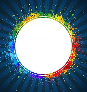 Splashes round background. Color gradient vector frame