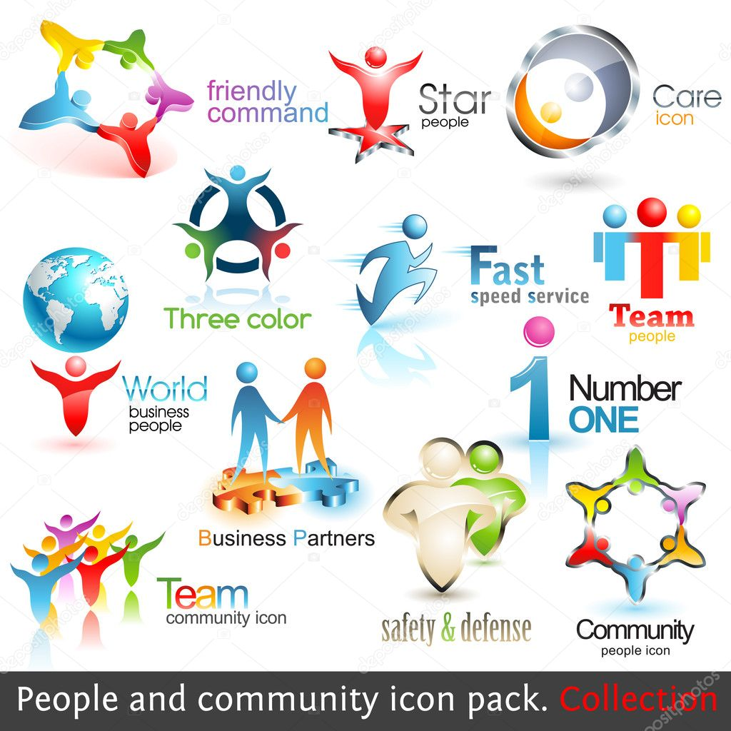 Business community 3d icons. Vector design elements. Set of business teamwork symbols. — Imagen vectorial #4663381