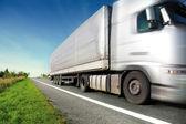 Zilveren vrachtwagen rijden op landweg — Stockfoto
