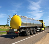 Big fuel gas tanker truck on highway — Foto Stock