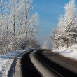 Turn of a winter road — Stockfoto