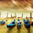 gondel parking, Venetië — Stockfoto