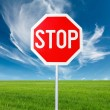 Roadside red stop sign in outdoor — Stock Photo