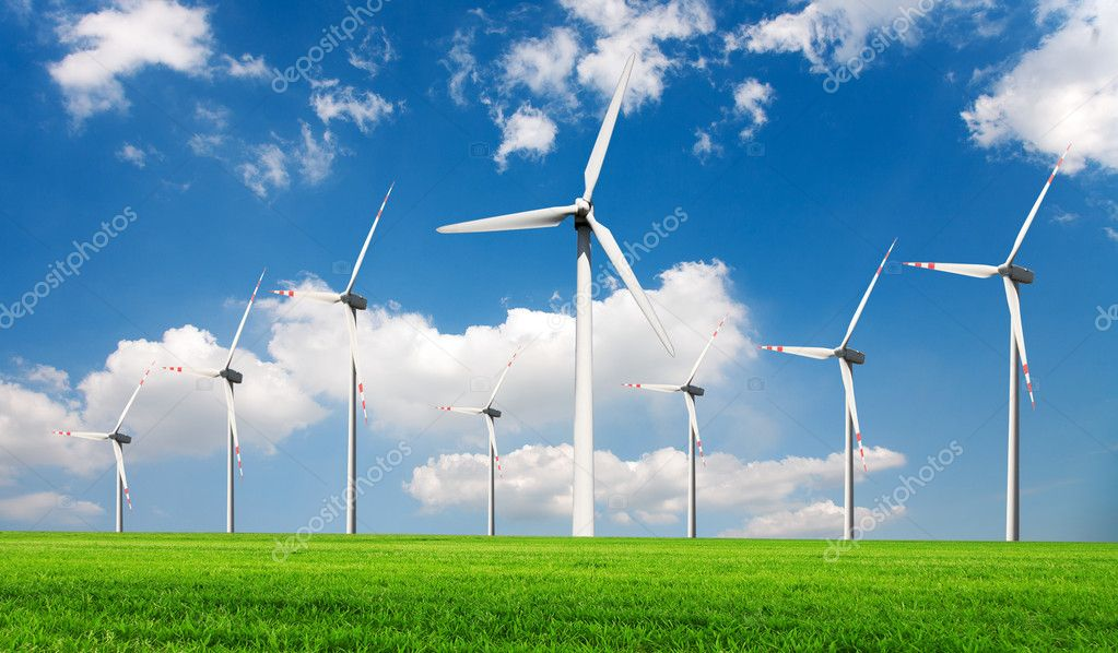 Wind turbines generating electricity  Stock Photo #4828318