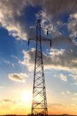 Electricity Pylon over sunset sky. — Stock Photo