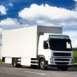 White truck driving on a road — Stock Photo #4921461