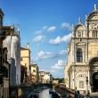 View of Venice with canal and old buildings, Italy — Stock Photo