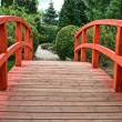 Wooden bridge in green garden — Stock Photo