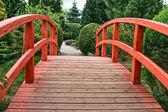 Wooden bridge in green garden — Stock Photo