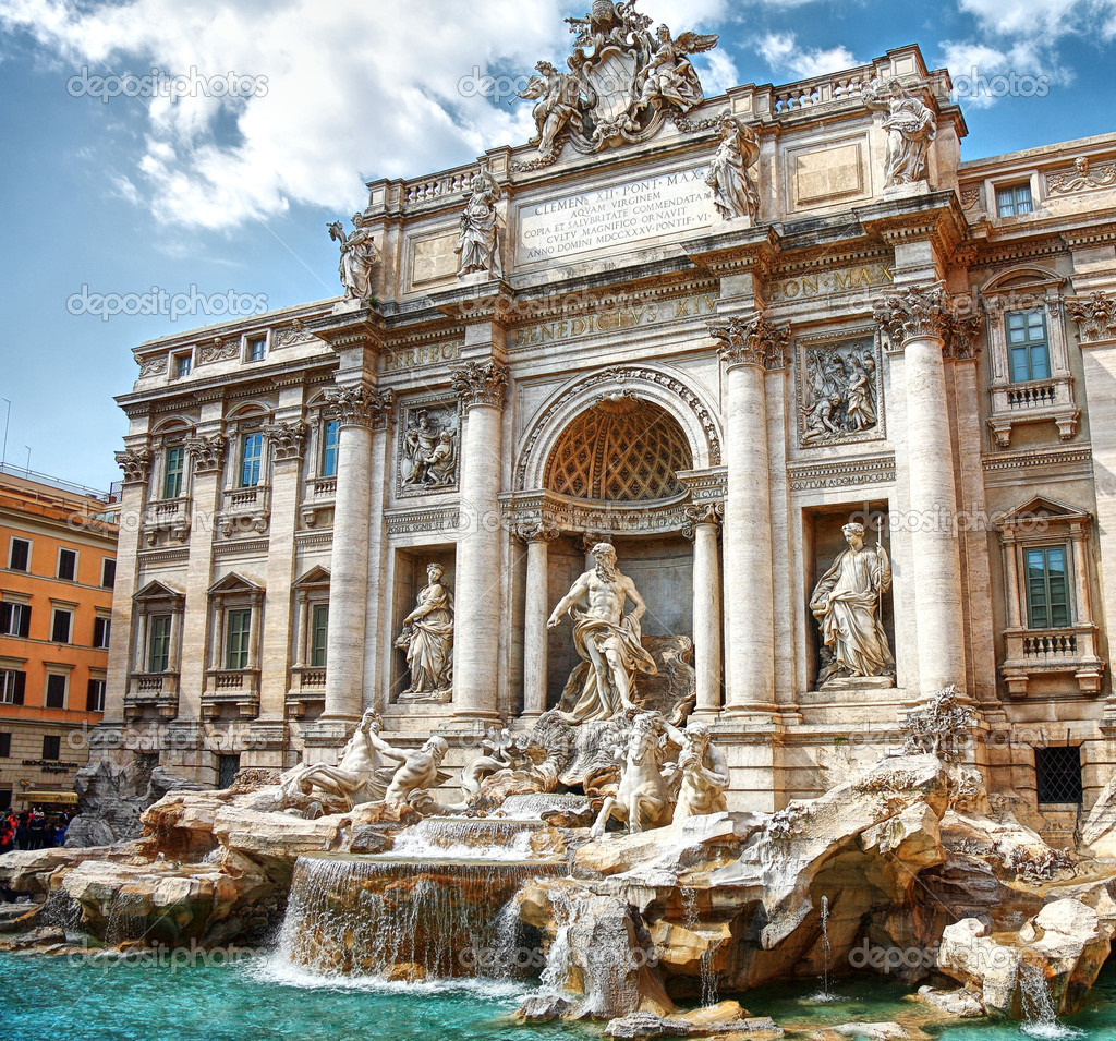 Baroque Trevi Fountain (Fontana di Trevi) in Rome  — Stock Photo #5046888