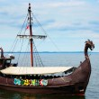 Stock Photo: Viking ship on sea