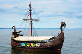 Viking ship on the sea — Stock Photo