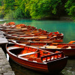 Stock Photo: Boats in national park Plitvice, Croatia