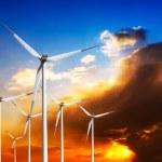 Wind turbines at sunset — Stock Photo