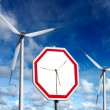 Stock Photo: Wind turbines zone